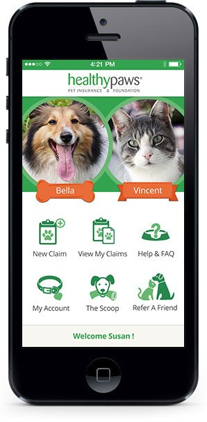Healthy Paws Pet Insurance mobile app